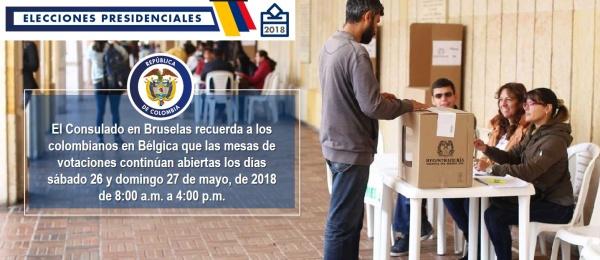 El Consulado en Bruselas recuerda a los colombianos en Bélgica que las mesas de votaciones continúan abiertas los días sábado 26 y domingo 27 de mayo, de 2018 de 8:00 a.m. a 4:00 p.m.