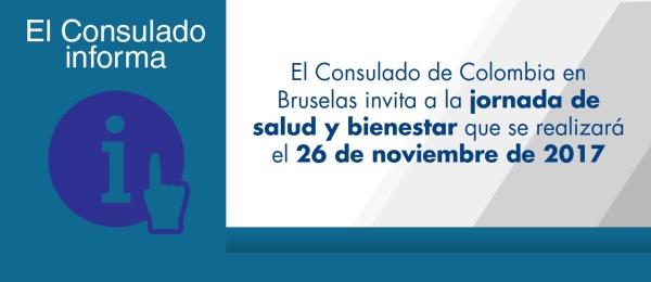 El Consulado de Colombia en Bruselas invita a la jornada de salud y bienestar que se realizará el 26 de noviembre de 2017