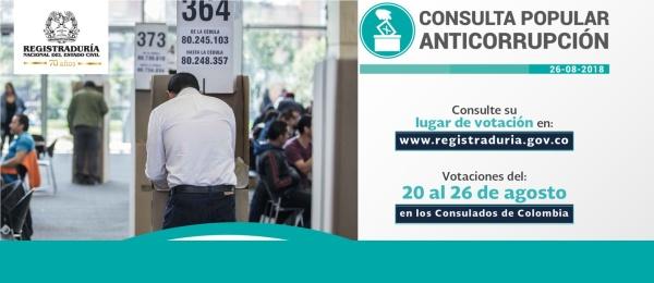 El Consulado de Colombia en Bruselas informa que la Consulta Popular Anticorrupción se realiza del lunes 20 al domingo 26 agosto