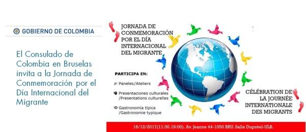 El Consulado de Colombia en Bruselas invita a la Jornada de Conmemoración por el Día del Migrante