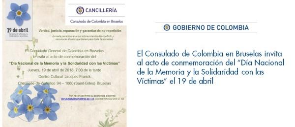 """Consulado de Colombia en Bruselas invita al acto de conmemoración del """"Día Nacional de la Memoria y la Solidaridad con las Víctimas"""" el 19 de abril"""