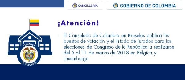 El Consulado de Colombia en Bruselas publica los puestos de votación y el listado de jurados para las elecciones de Congreso de la República a realizarse del 5 al 11 de marzo en Bélgica y Luxemburgo
