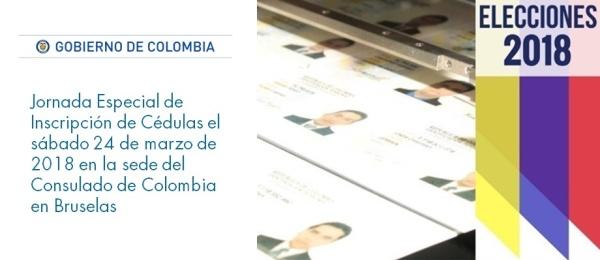 Jornada Especial de Inscripción de Cédulas el sábado 24 de marzo en la sede del Consulado de Colombia en Bruselas