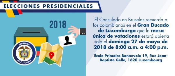 El Consulado en Bruselas recuerda a los colombianos en el Gran Ducado de Luxemburgo que la mesa única de votaciones estará abierta solo el domingo 27 de mayo de 2018 de 8:00 a.m. a 4:00 p.m.